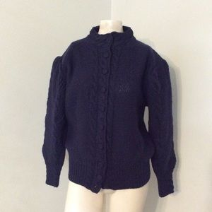 Vintage 80s Wool Puffy Sleeves Cable Knit Sweater